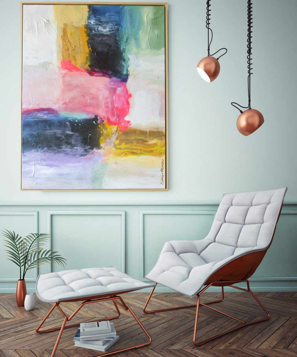 Abstract schilderij Bohemian | Esther Gemser Art | Kunst Utrecht | pastel en zwart