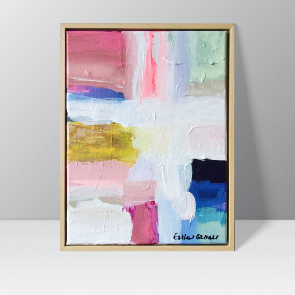 Abstract schilderij Sunkissed | Esther Gemser Art | Kunst schilderij Utrecht pastel modern