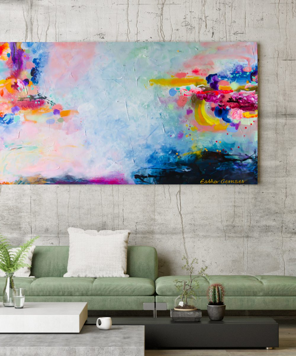 Abstract schilderij - Esther Gemser Art - Schilderij Excited